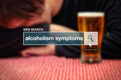 Web search bar glossary term - alcoholism symptoms Stock Photos