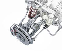 Multi link front car suspension, with brake. Photorealistic 3 D rendering. Piirros