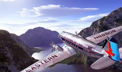 DC3 flying over mountains and lake, with blue sky and clouds on background. - stock illustration