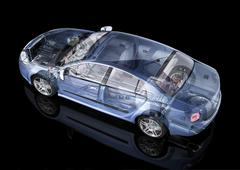 Generic sedan car detailed cutaway representation, with ghost effect, on blac Stock Illustration