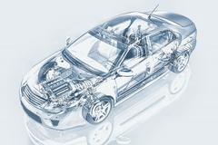Generic sedan car detailed cutaway representation, with ghost effect, in penc Stock Illustration