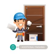 Worker Performs Finishing Doorway Work - stock illustration