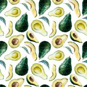 Watercolor avocado pattern - stock illustration