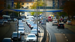 TL Rush Hour heavy Traffic Jam Bottom neck congestion German Autobahn Motorway Stock Footage