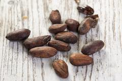 Cacao beans on a white wooden board Stock Photos