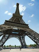 Eiffel Tower, dramatic view from below. - stock illustration