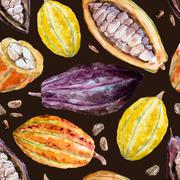 Watercolor cocoa pattern Stock Illustration
