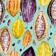 Watercolor cocoa pattern - stock illustration