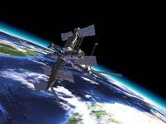 Mir Russian Space Station, in orbit on the earth. - stock illustration