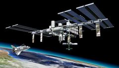 Space station in orbit around Earth, with Shuttle. Stock Illustration
