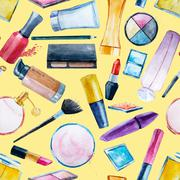 Watercolor cosmetics pattern - stock illustration