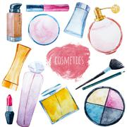 Watercolor cosmetics set - stock illustration