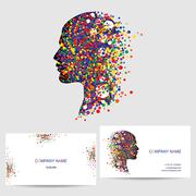 Vector icon design element, business card template - stock illustration
