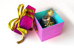 Opened gift box with bomb inside, on white surface. - stock illustration