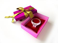 Gift package, with ribboned open cup, with ring and diamond on a pillow, insi - stock illustration
