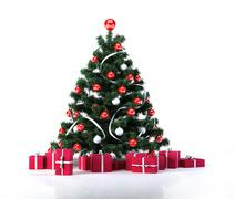 Christmas tree with golden balls and decoration. Below it there are several g Stock Illustration