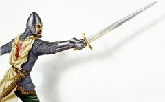 Middle age Ancient warrior with a sword, in action. On white background with  - stock illustration