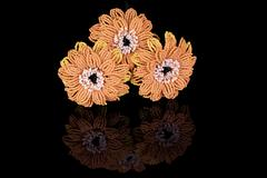 Hand Made Three gerbera flower bead - stock photo