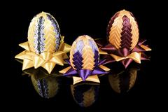 Hand made three Easter eggs kanzashi - stock photo