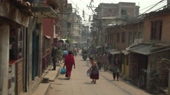 Nepal 1 Year After the Earthquake. Shower Time 4K - stock footage
