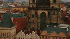 Close-up Aerial Shot of the Church of Our Lady before Tyn in Prague, Czech Stock Footage