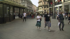 Milan, Italy – May 2013: People shopping in Cordusio district Stock Footage