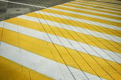 White yellow crosswalk zebra crossing. Pedestrian crossing with shadow - stock photo