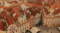Tilting Aerial Shot of the Old Town Square in Prague, Czech Republic (Czechia) Stock Footage