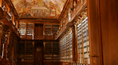 Panning Shot of the Library at Strahov Monastery in Prague, Czech Republic Stock Footage