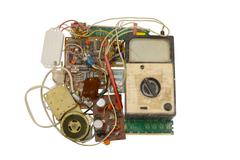 Old electronic components , circuits Stock Photos
