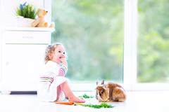 Happy toddler girl wearing a white dress playing with a real bunny Stock Photos