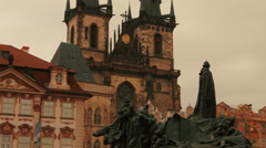 Cinematic Shot of the Jan Hus Memorial in the Old Town Square of Prague, Czech Stock Footage