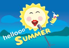 Vector illustration. The sun sings into the microphone. Summertime holiday Stock Illustration