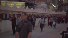 Nepal 1 Year After the Earthquake. Bodhnath People Panorama 4K Stock Footage