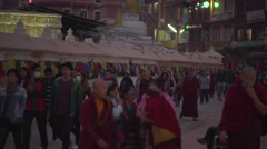 Nepal 1 Year After the Earthquake. Evening Panorama at Bodhnath 4K Stock Footage
