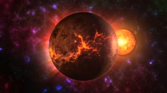 Venus with an avalanche on the surface in space - stock footage