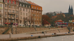 Motion View of the Vltava River in Prague, Czech Republic (Czechia) - stock footage