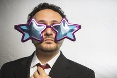 Celebrity, businessman with glasses stars, crazy and funny achiever Stock Photos