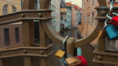 Quaint Canal and Boat Crossing in Prague, Czech Republic (Czechia) Stock Footage