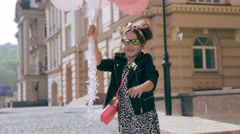 Little beautiful girl pretty smile face wear dress jacket clothes for kid walk o - stock footage