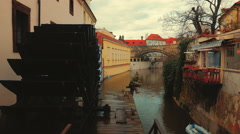 Water Mill of a Canal Located in Prague, Czech Republic (Czechia) Stock Footage