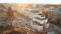 Aerial view Historic monument Golden gate in Vladimir Stock Footage