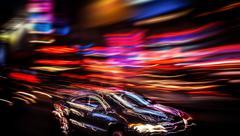 Illumination and night lights of big city - stock photo
