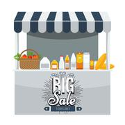 Shop concept. Store booth with awning and products on shelf Stock Illustration
