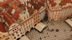 Panning Aerial Shot of the Old Town Square in Prague, Czech Republic (Czechia) Stock Footage