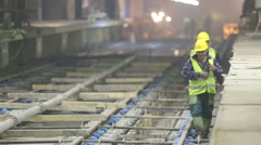 Two underground subway tunnel workers Stock Footage