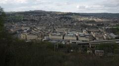City of Bath establishing long shot pan, England, Europe Stock Footage