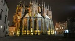 Approaching the St Vitus Cathedral at Night in Prague, Czech Republic (Czechia) Stock Footage