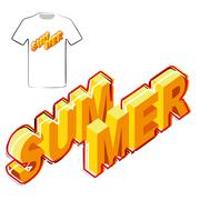 Summer Poster t-shirt graphics design template. - stock illustration