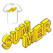 Summer Poster t-shirt graphics design template. - stock illustration